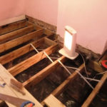Complete floor replacement was the most cost effective solution in this room